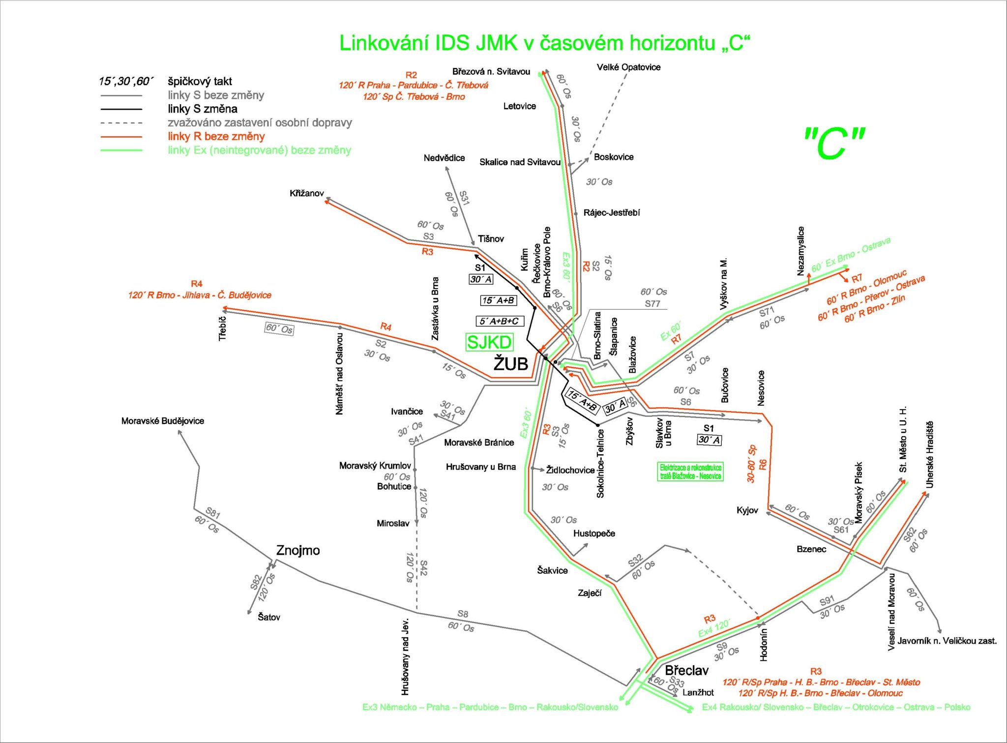 Železniční doprava v okolí Brna kolem roku 2030