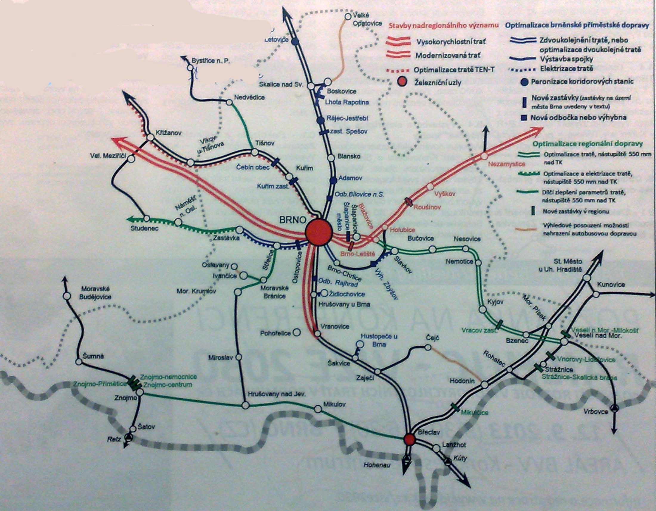 Schéma nových, rekonstruovaných, zrušených a VRT tratí v JM kraji