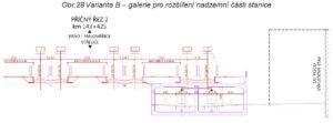 Řez navrženým nádražím Pod Petrovem. Na pravé straně je Tesco (dříve Prior) a v podzemí je navržená zastávka šaliny. Zdroj: [1], str. 35