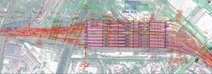 Schéma nového brněnského nádraží U Řeky: Vlevo Heršpice a řeka Svratka, vpravo ulice Masná a řeka Svitava.  Zdroj: [9], Soubor F1-004c_sit_Brno-hln.pdf