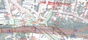 Nádraží Černovice při variantě nádraží U Řeky. Vlevo nové brněnské nádraží U Řeky (dnes Dolní nádraží). Zdroj [9] Soubor F1-004e_sit_Brno-hln-Cernovice-II.pdf