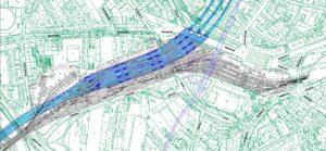 Schéma podzemní stanice ve variantě nádraží v centru spolu s navazujícími tunely pod historickým jádrem Brna. Zdroj: [6], přílohy E05