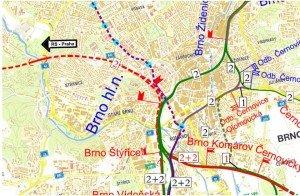 U varianty Nádraží v centru - Pod Petrovem, je červenou přerušovanou čárou vyznačena tunelová část.