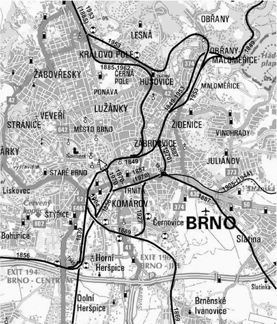 Chronologický vývoj Železničního uzlu Brno (Zdroj. 4)