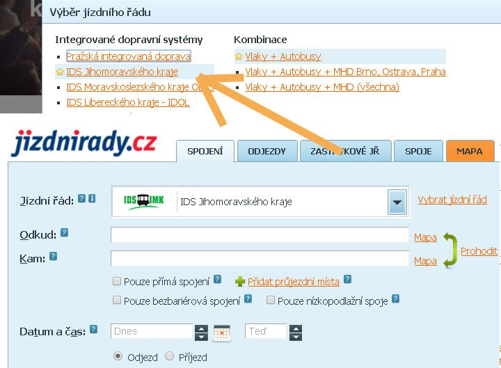 Vyhledávač spojení jizdnirady.cz
