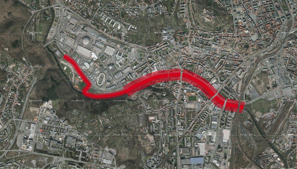 Řešené území kolem řeky Svartky - nová brněnská náplavka