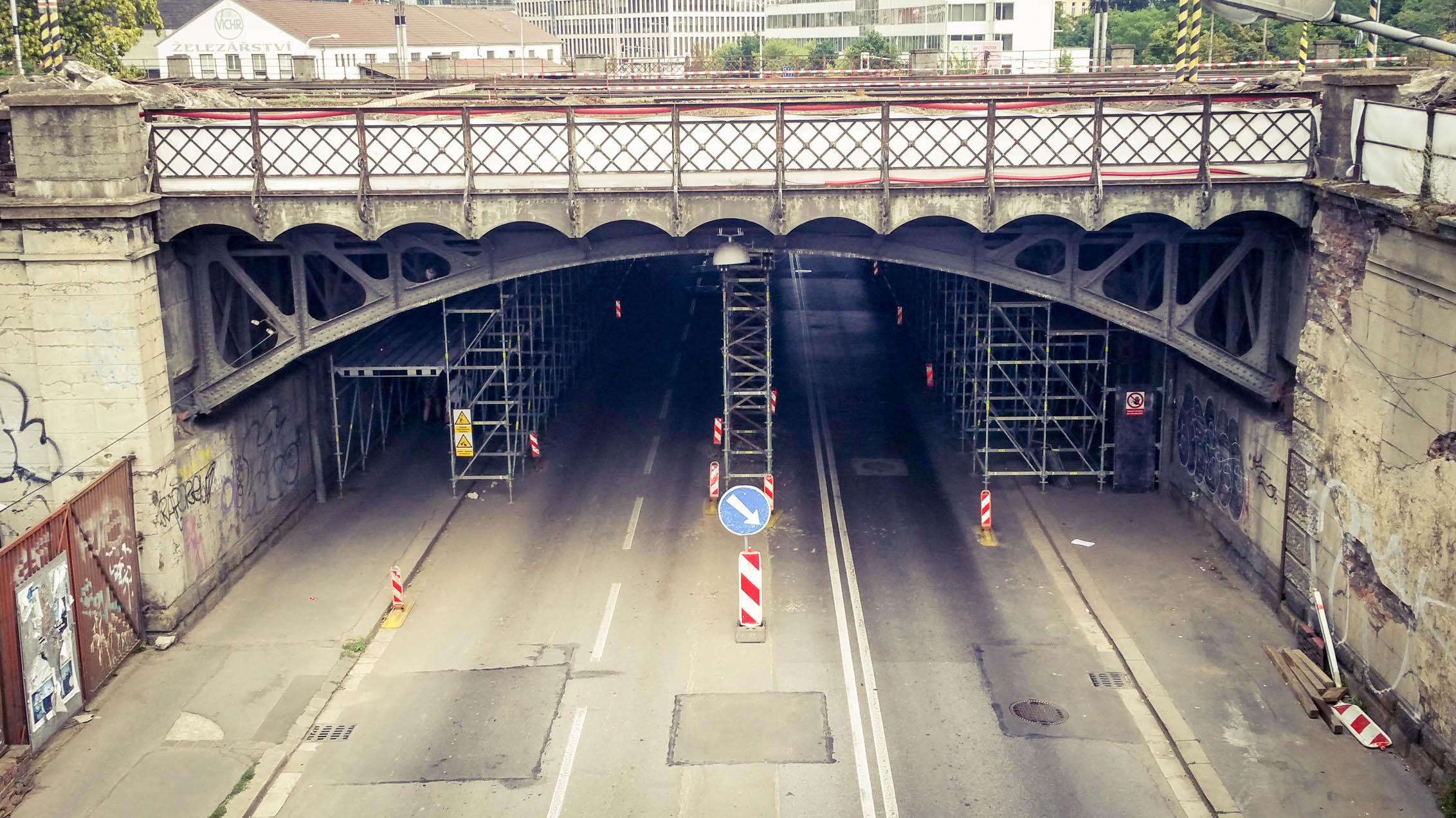 Viadukt Hybešova v srpnu 2018