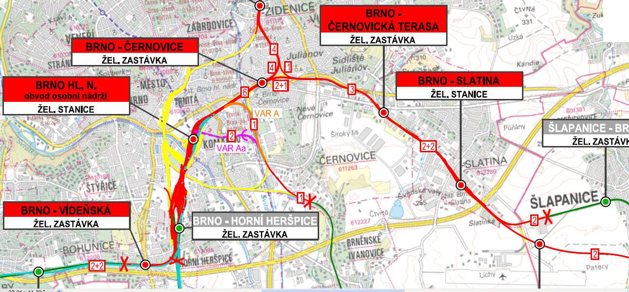 Zapojení tratí do nového brněnského nádraží ve variantě Řeka. Pod-varianta A (oranžově) + Aa (fialově). Zdroj: B_01_02_01_02_ZM50_VAR A,Aa