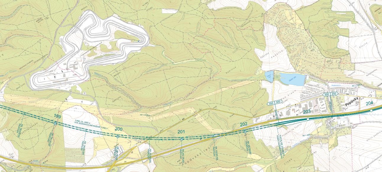 Trasa Vysokorychlostní železnice ve variantě Řeka. Trasa vede kolem dálnice, pod Masarykovým okruhem, jižně od Starého Lískovce, souběžně s dálnici D1