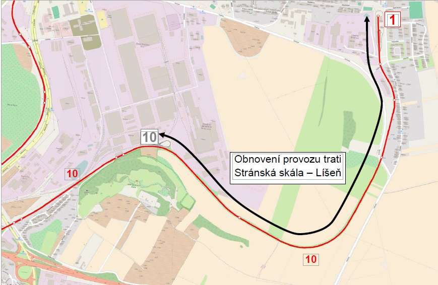 Plán na prodloužení šaliny 10ky do Líšně