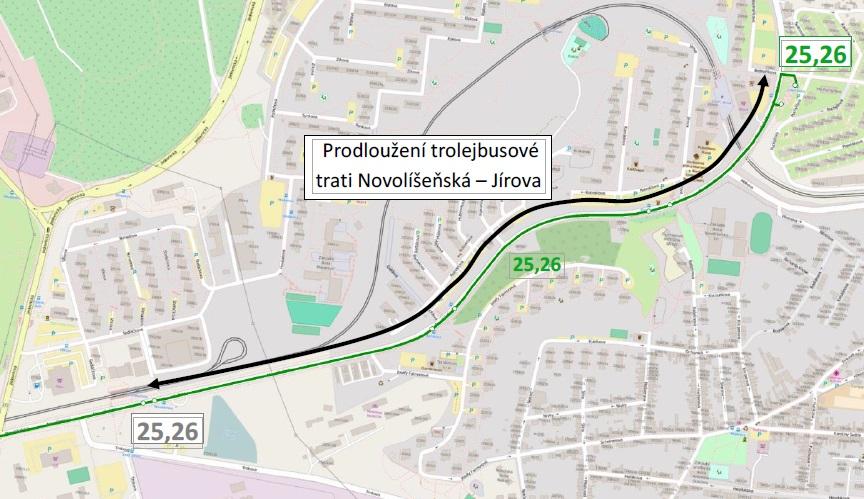 Prodložení trolejbusu Jírová