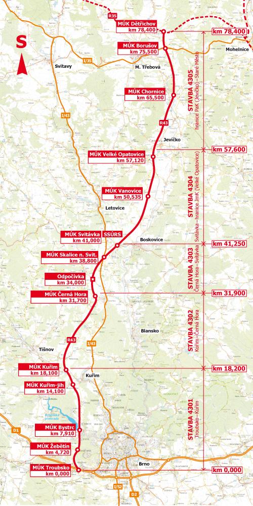 Plán trasy dánice D43 z Moravské Třebové do Brna