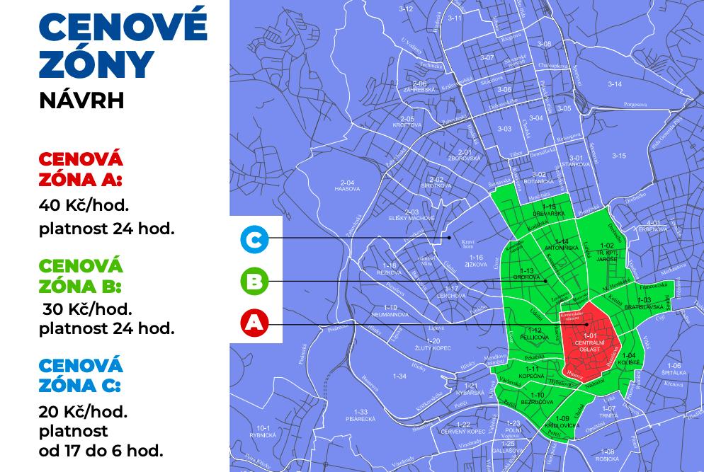 Mapa rezidentního parkování od podzimu 2019 v Brně