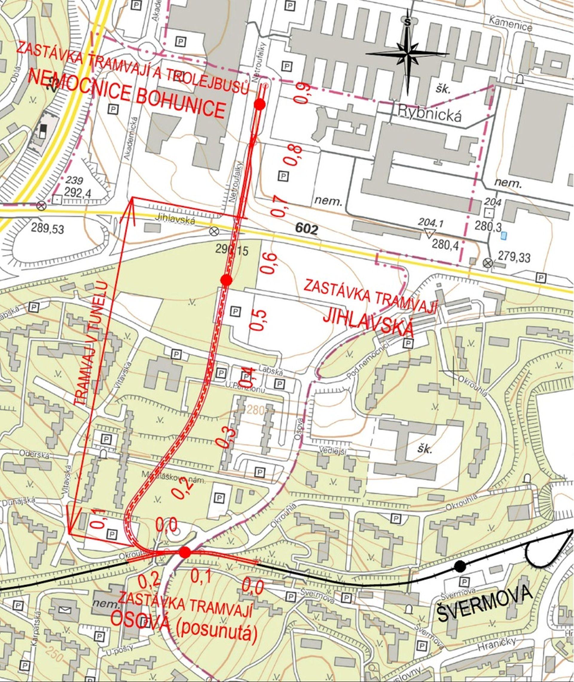 Plán šaliny z Osové do Bohunic