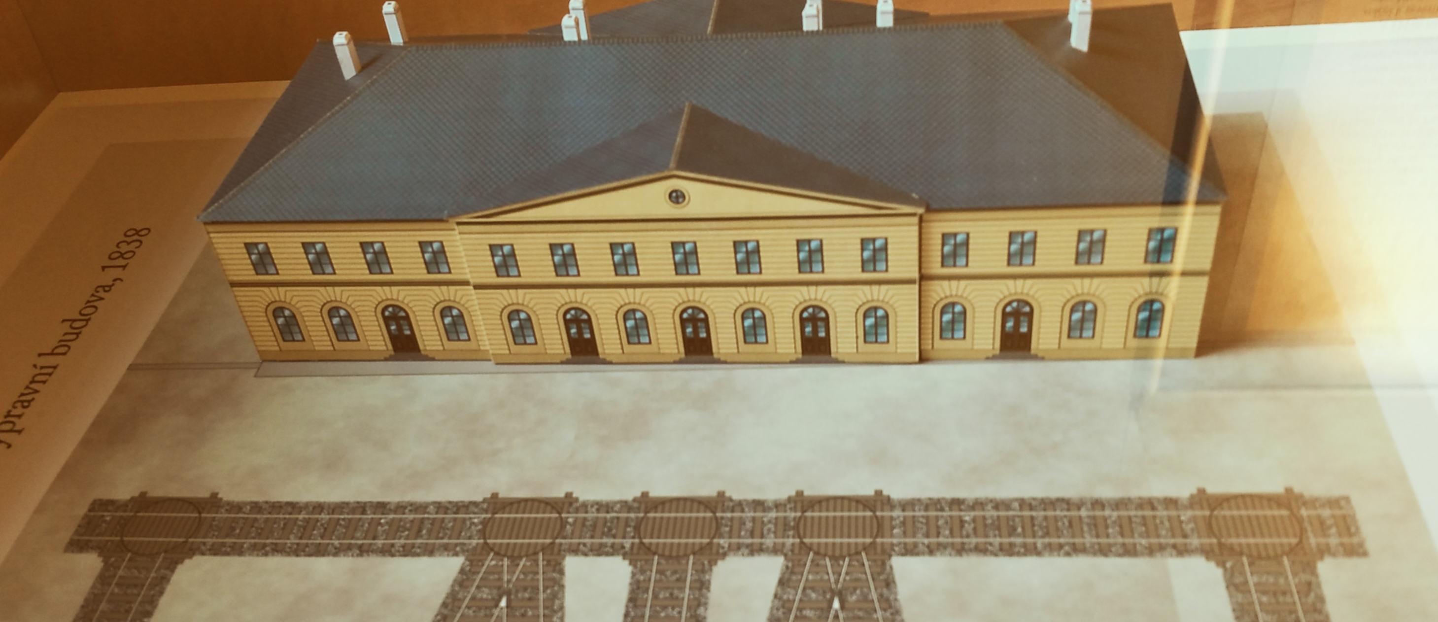 Rekonstrukce předpokládané podoby brněnského čelního nádraží, 1839