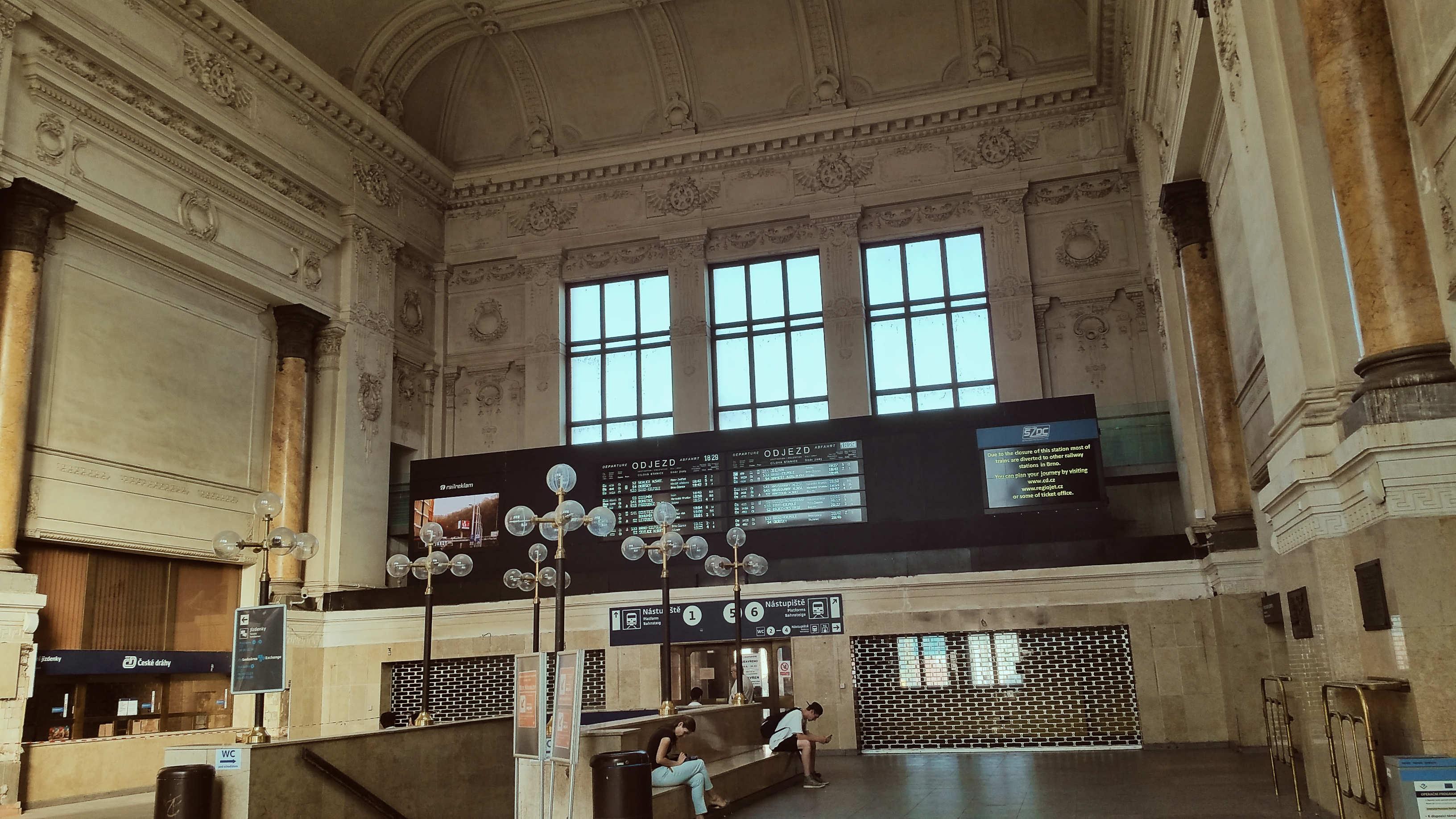 Brno hlavní nádraží, červenec 2019