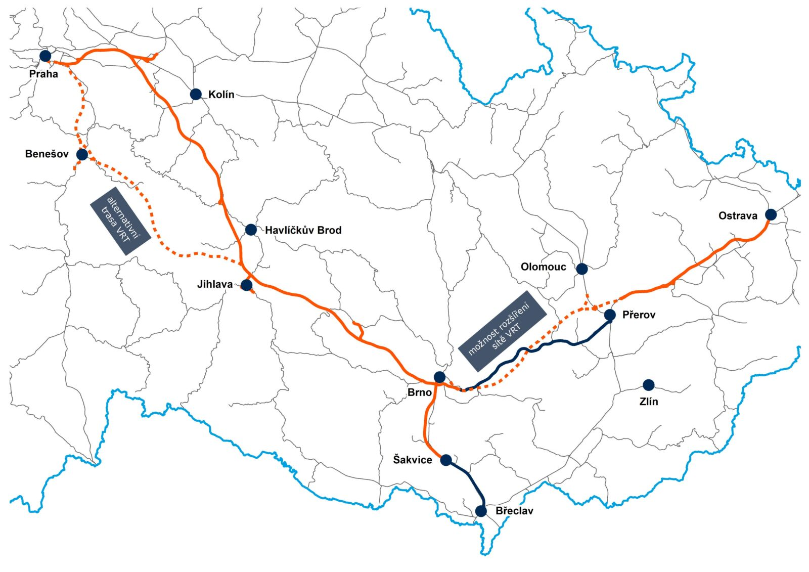 Vysokorychlostní tratě v okolí Brna