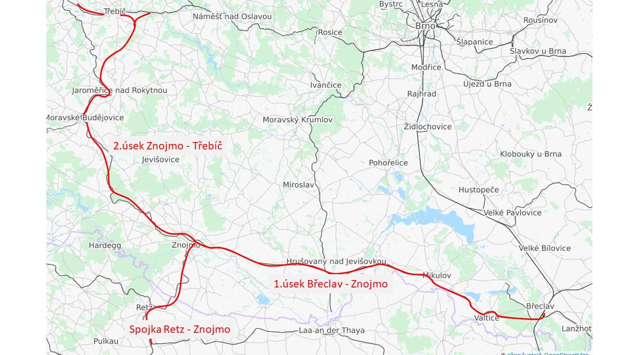 Sagitální dráha - 1.úsek Břeclav - Znojmo