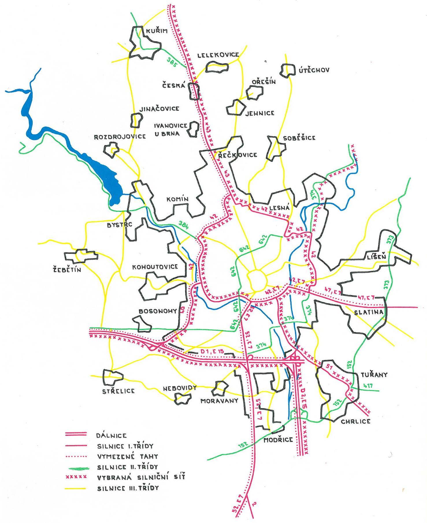 Plán hlavních silnic na území Brna z roku 1979