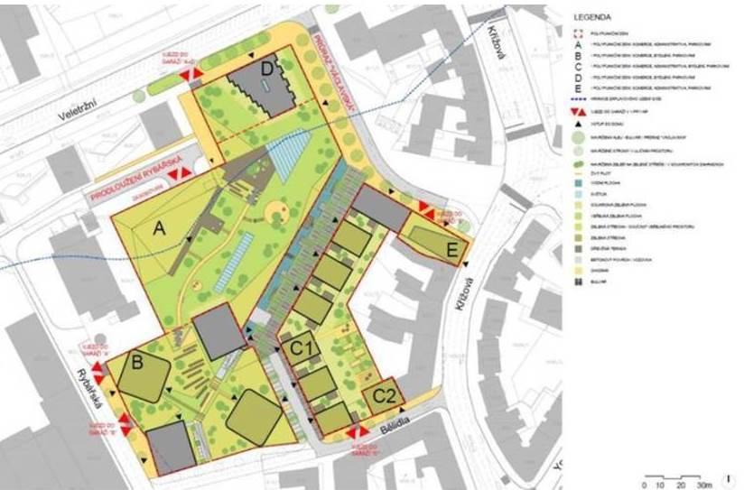 Nákres plánovaného Mendel Plaza u Mendlova náměstí v Brně