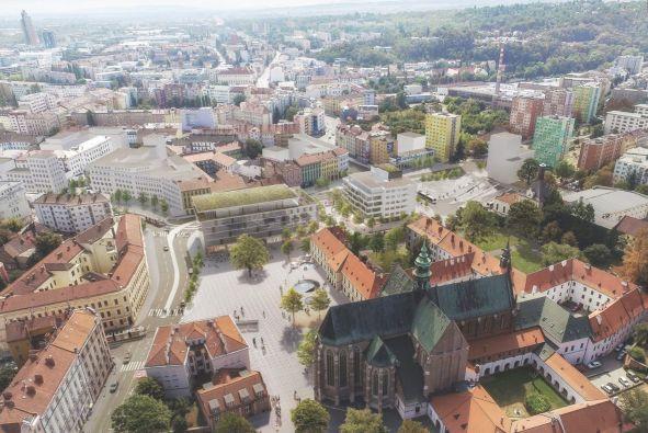 Vizualizace Mendlova náměstí po přeložení šaliny