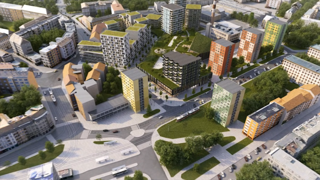 Vizualizace nových domů u Mendlova náměstí
