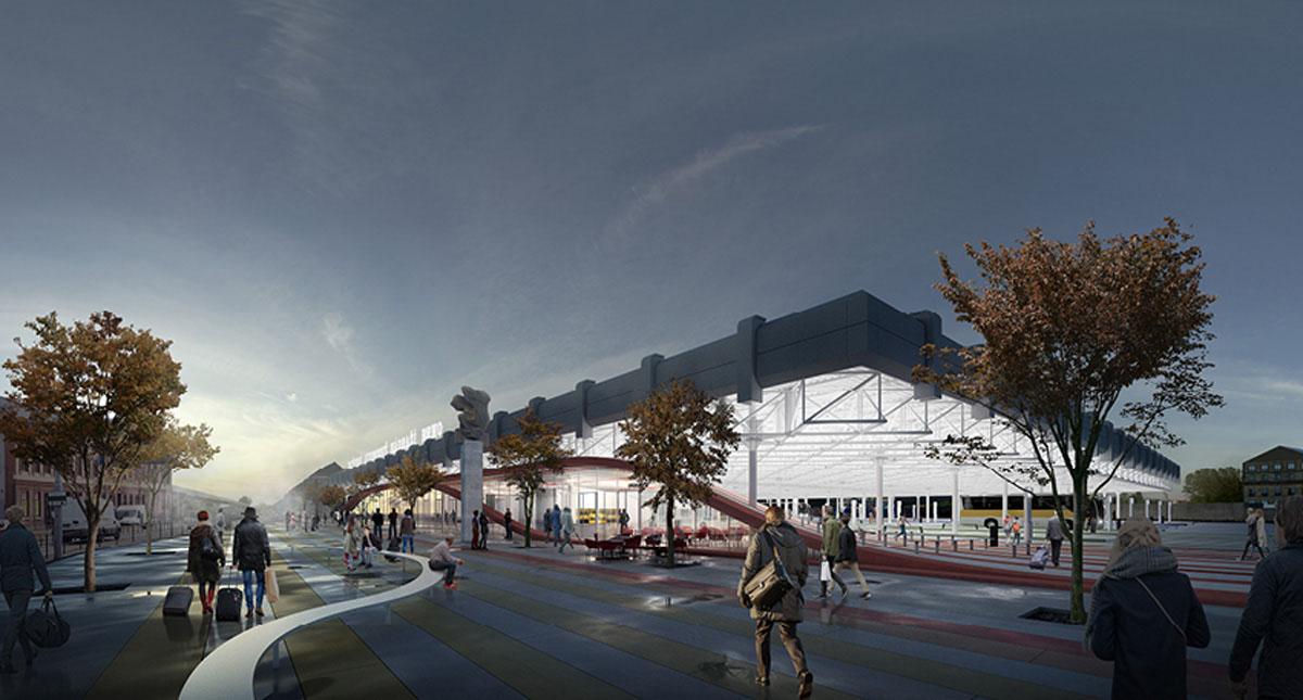 Vizualizace nové podoby stávajícího autobusového nádraží Zvonařka