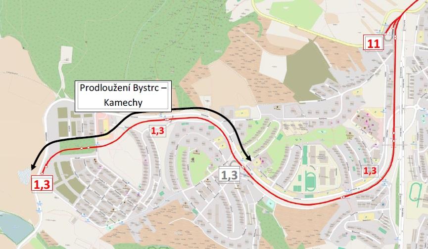 Trasa plánované šaliny na Kamechy v Brně Bystrci