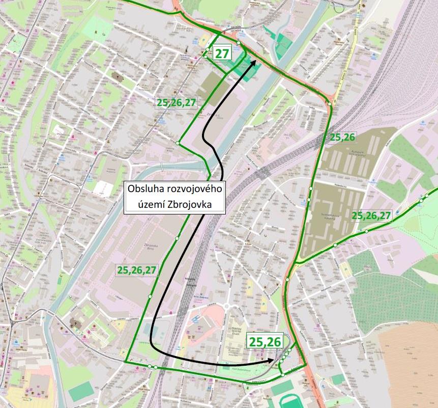 Plánovaná trasa trolejbusu přes Zbrojovku