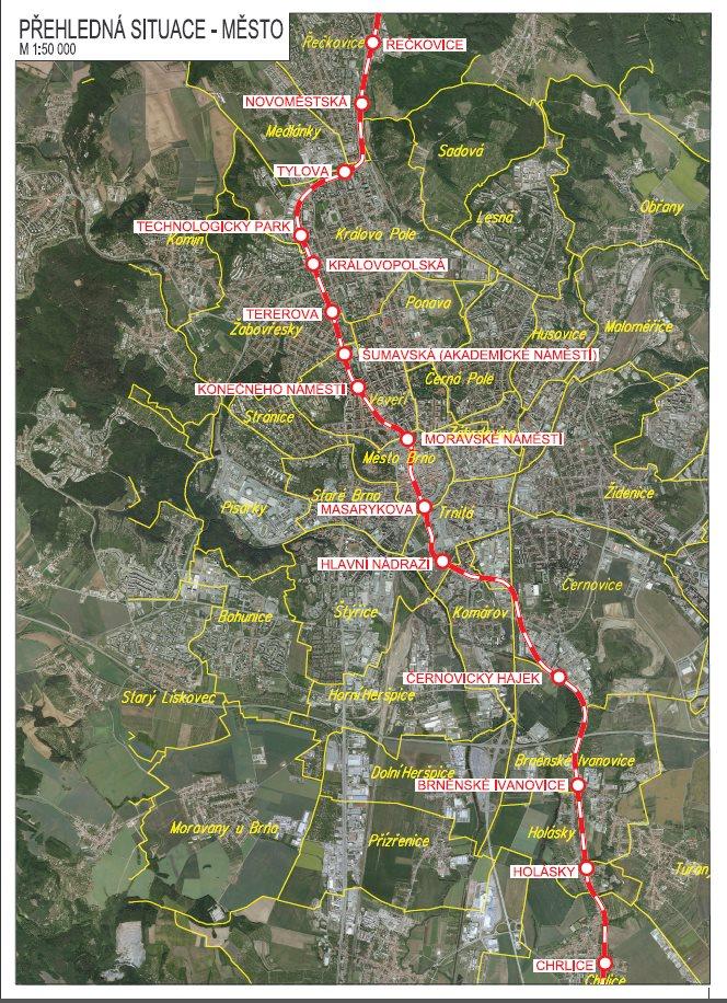 Severo-jižní kolejový diametr přes Brno: Řečkovice – Technologický park – Masarykova – uzel šalin – Nové hlavní nádraží – Holásky
