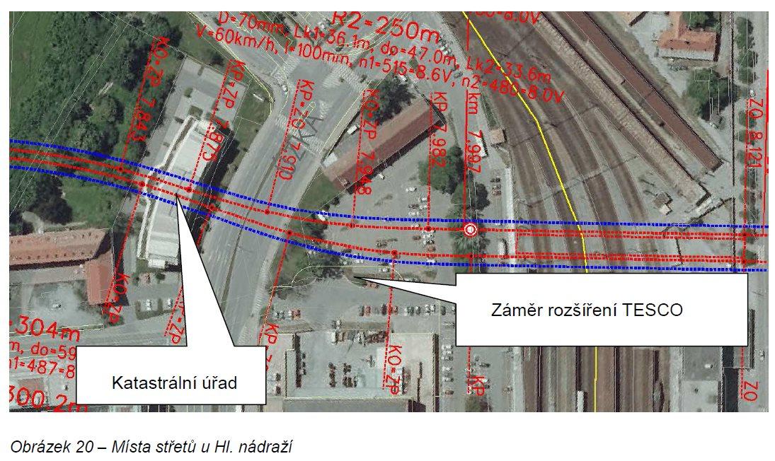 Návrh trasy brněnské podzemky kolem OD Prior