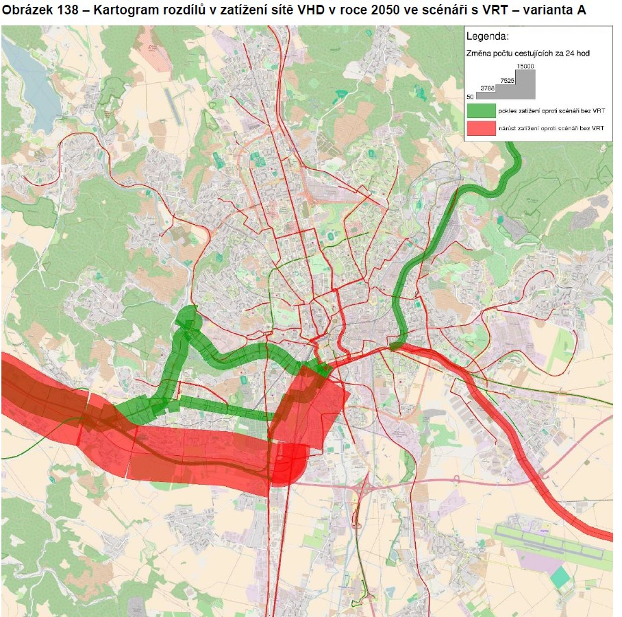 Objem cestujících při VRT ve variantě Řeka