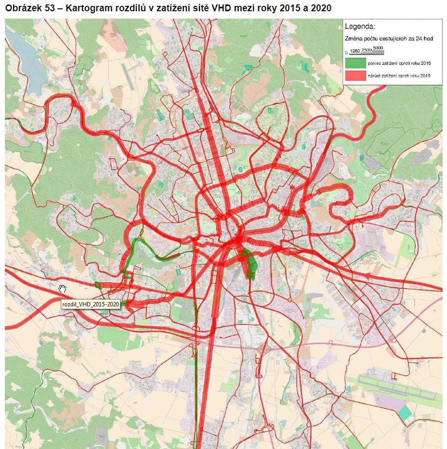 Nárůst / pokles zatížení veřejné dopravy v Brně