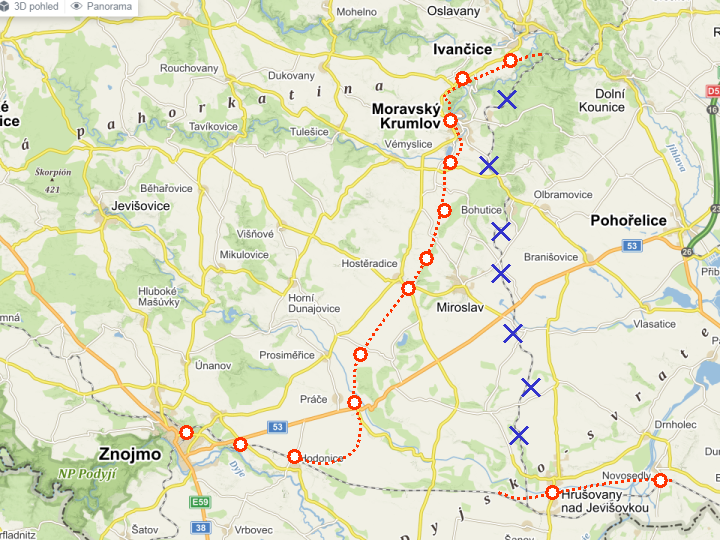 Návrh nového žel. spojení Brno- Znojmo
