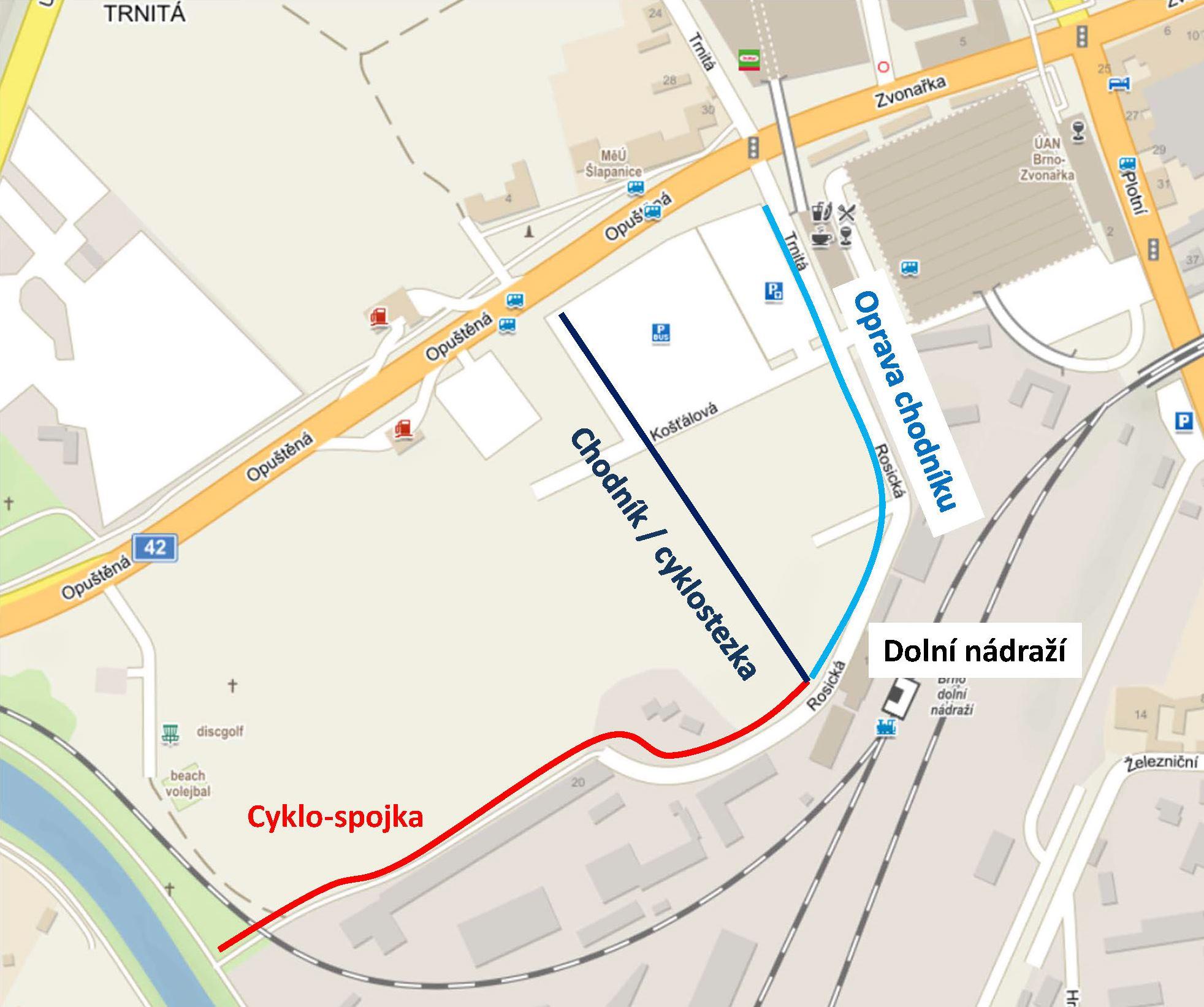 Návrh na obnovené cesty na Dolní nádraží středem Trnitá