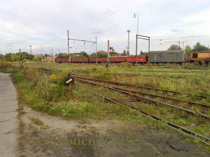Tak a tady všude by mělo být Nové nádraží. Zatím ale koleje zarůstají trávou a reznou odstavené vagóny.