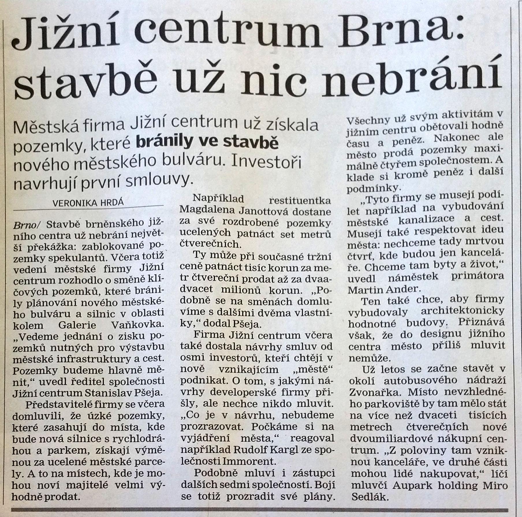 Brněnský deník 8.března 2008