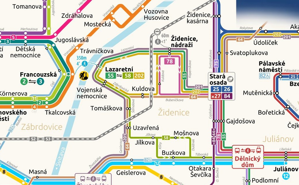 Výřez z plánku dopravních opatření ve veřejné dopravě