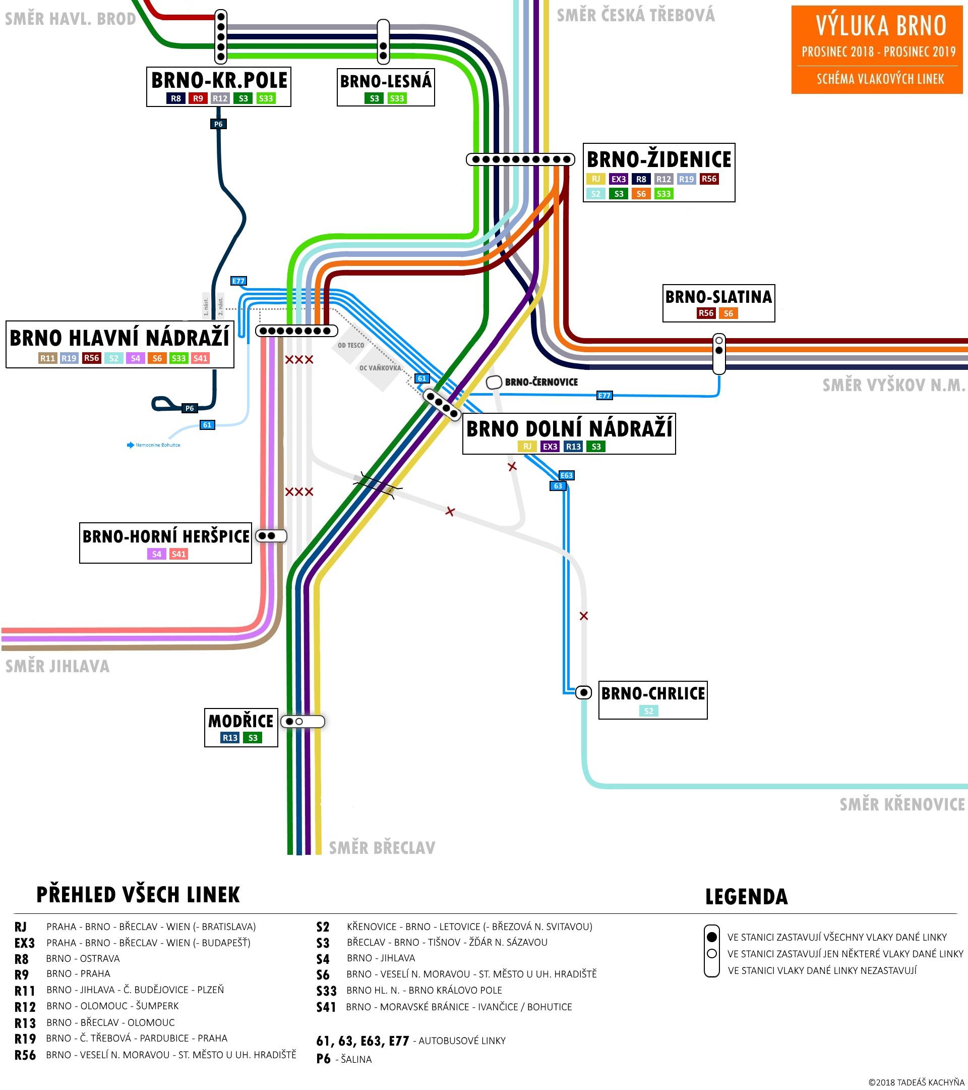 Schéma velké brněnské vlakové výluky, včetně náhradní autobusové dopravy a šaliny P6. Autorem plánku je Tadeáš Kachyňka.