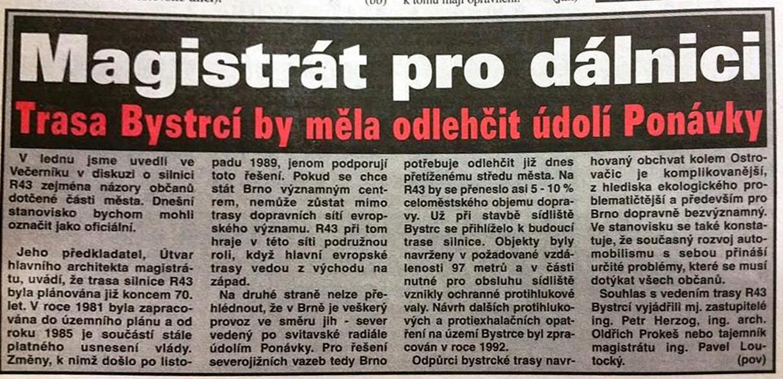 Dálnice kolem Bystrce, Brněnský večerník z 15.února 1996