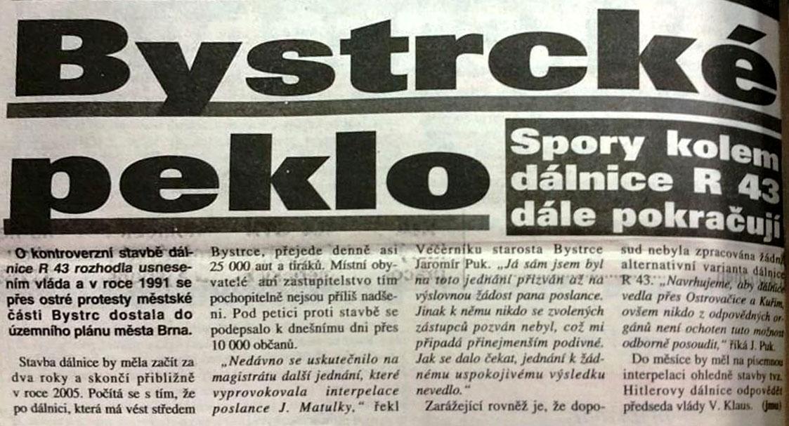 Dálnice kolem Bystrce, Brněnský večerník, 15.března 1996