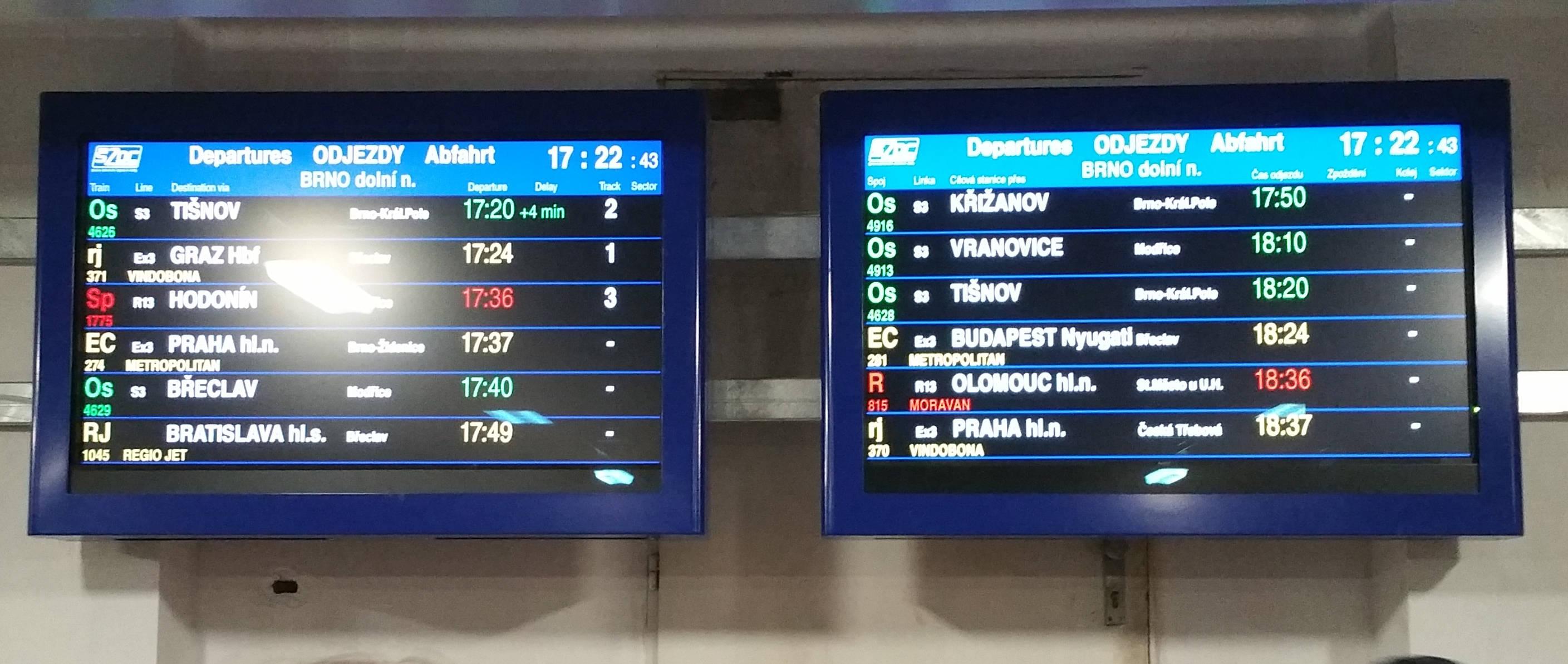 Informační cedule SŽDC Dolní nádraží Brno