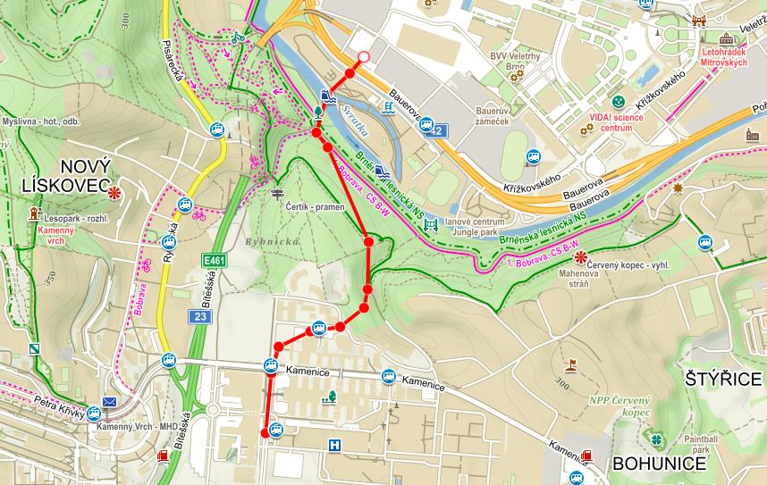 2.alternativní řešení propojení Pisárek - Výstaviště a Bohunic šalinou