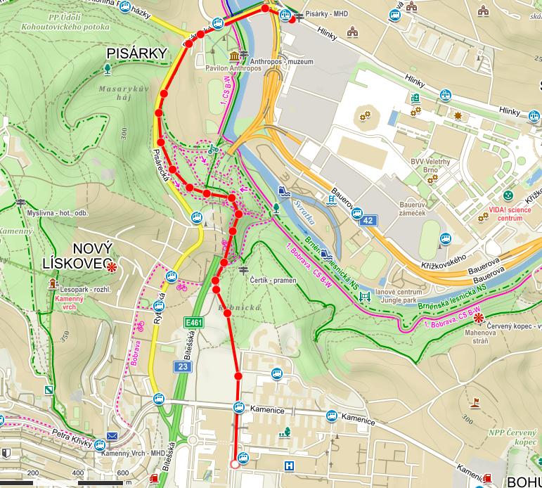 3. alternativní napojení šaliny z Pisárek do Bohunic