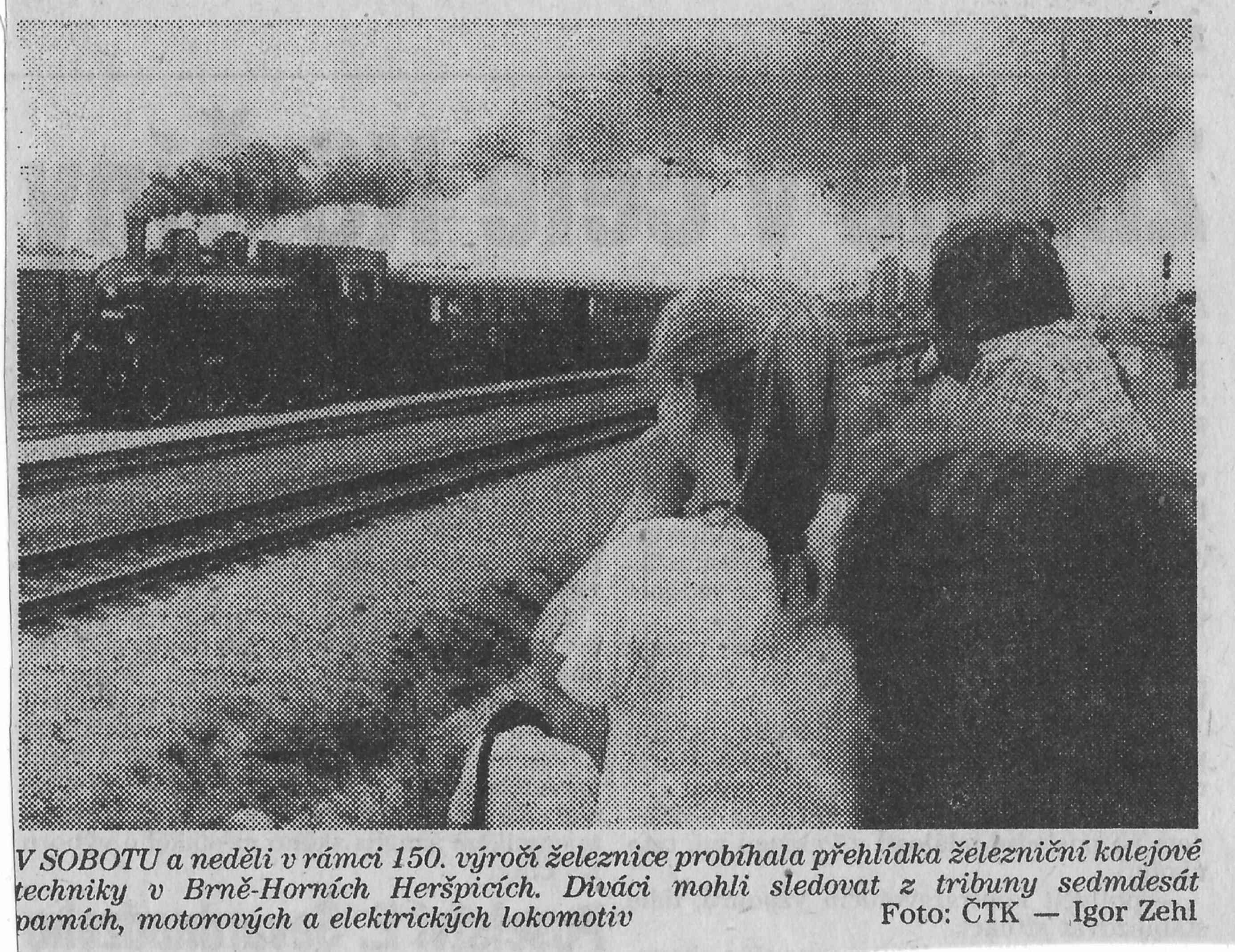 150.let železnice Vídeň - Brno, novinový výstřižek