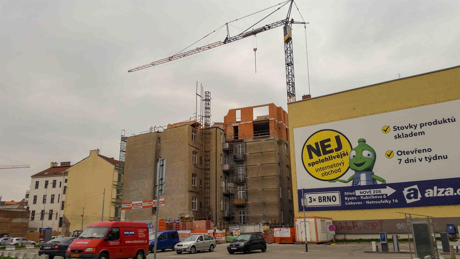 Nová bytová výstavba v Brně na ulici Křenová