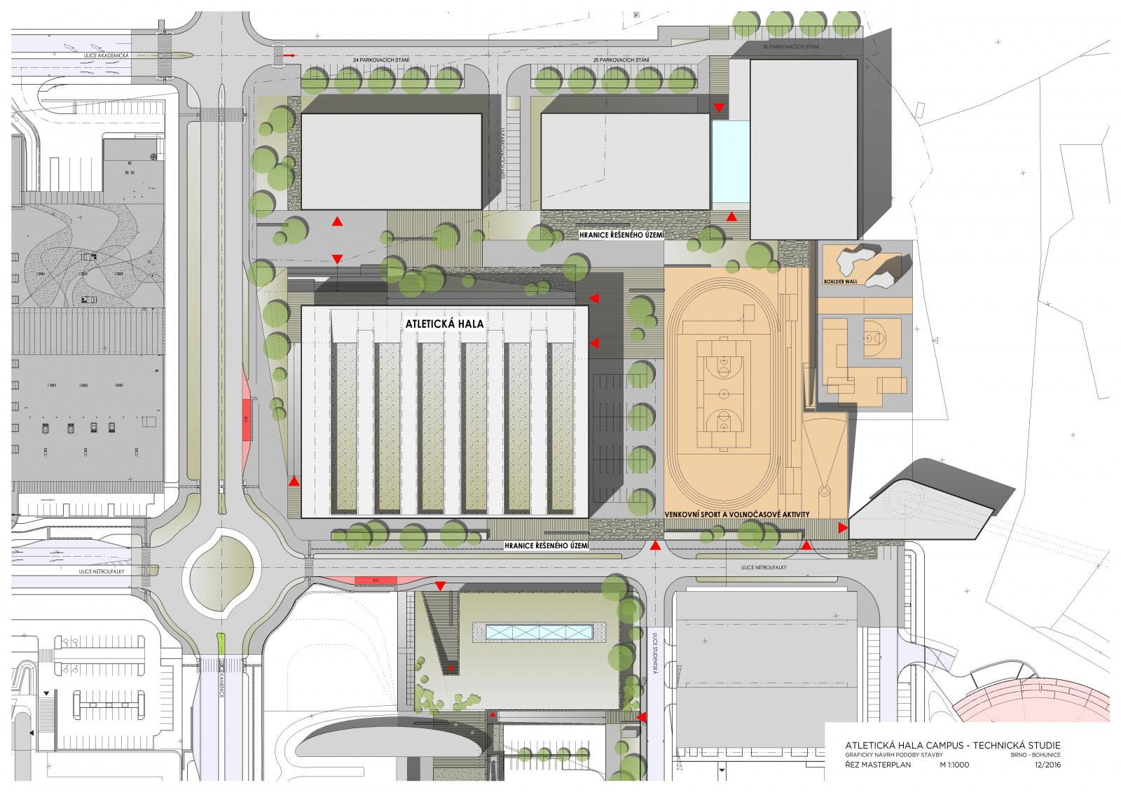 Plán nové sportovní haly v Bohunicích
