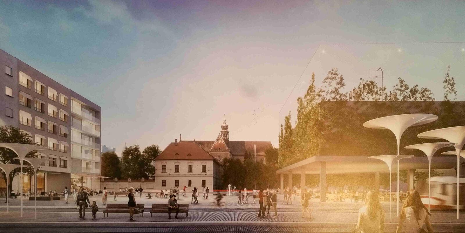 Vizualizace nové podoby Mendlovo náměstí v Brně, 2019