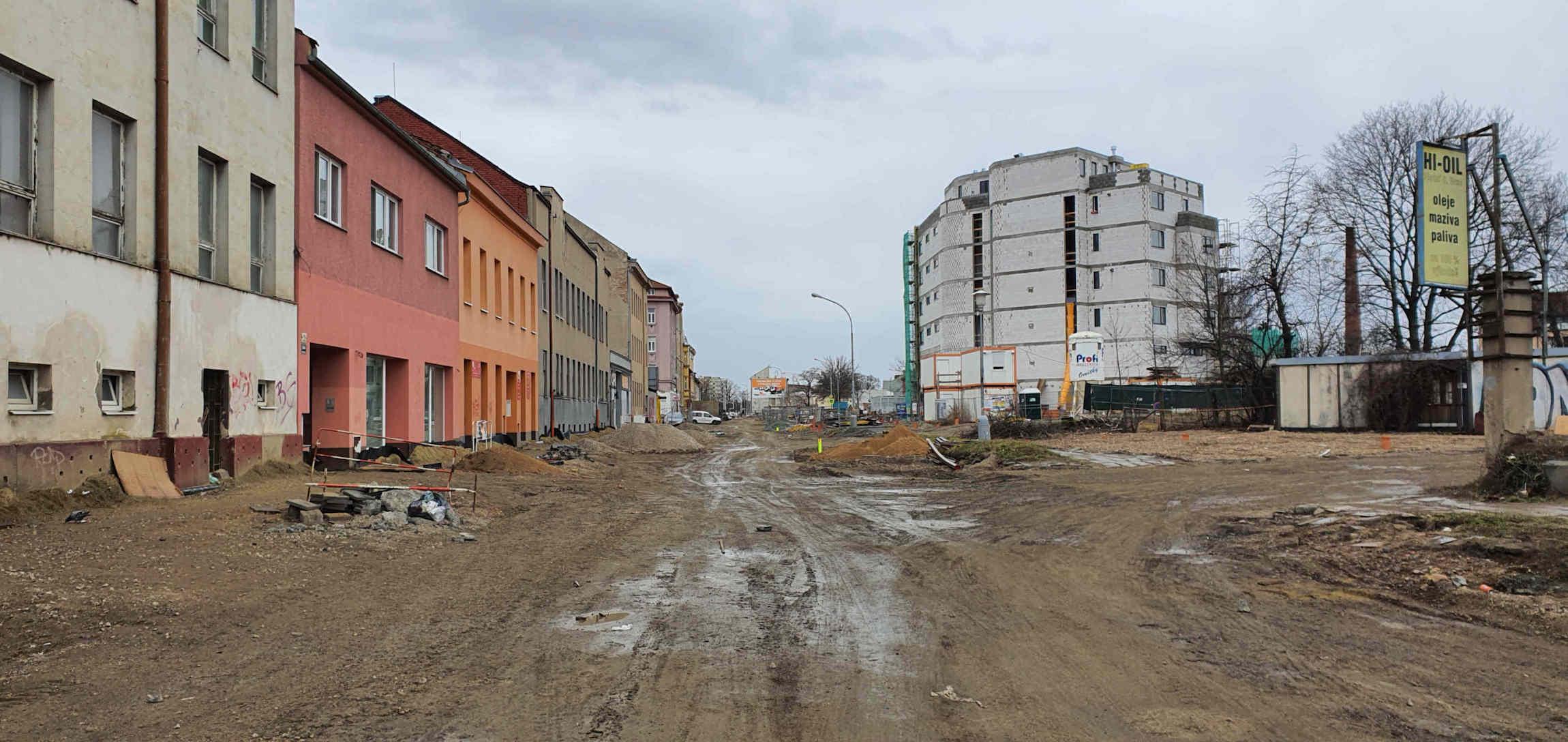 Ulice Plotní na jaře 2020