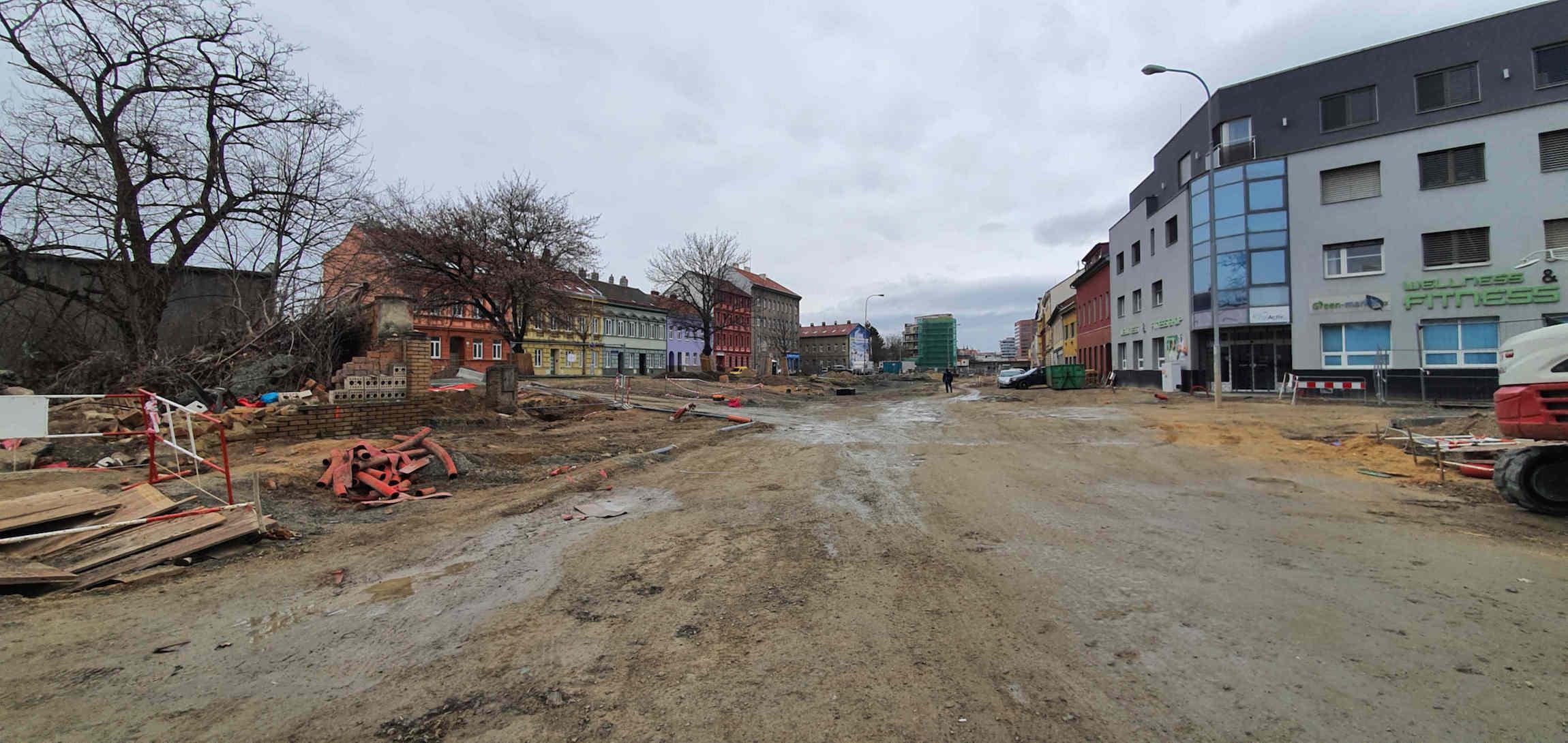 Plotní ulice v Brně, únor 2020